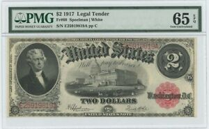 1917 $2 Legal Tender Note FR#60 PMG Gem Unc 65 EPQ