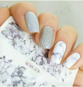 Nail Art Water Decals Stickers Transfers White Marble Effect Decoration