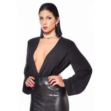 Patrice Catanzaro - Violeta - Chemise sexy noire en crêpe à manches longues