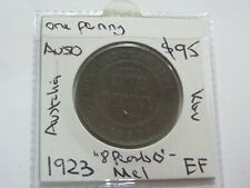 Australia Penny 1923 Lower mintage coin 8 Pearls and CD About EF $95