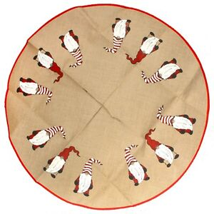 "BambooMN 39"" Gnome Round Christmas Tree Skirt Floor Base Cover Decoration"
