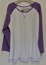 New Miss Fiori wms/teens 3/4 sleeve top White/Purple 14