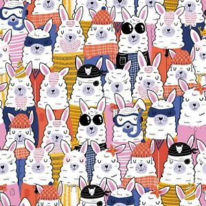 Artisan Matt Gift Wrap, Any Occasion, 2M to 5M Length. Colourful Alpacas