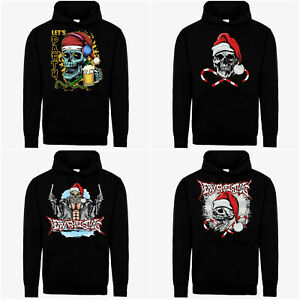Unisex Christmas Santa Skull Party Print Pull Over Hoodie Sweatshirt Jumper Xmas