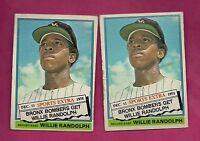 2 X 1976 TOPPS TRADE # 592T YANKEES WILLIE RANDOLPH  CARD (INV# A2121)