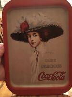 1971 Vintage Coca Cola Metal Serving Tray w/ 1909 Hamilton King Coca Cola Girl