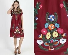 Vintage Maroon Mexican Dress Fiesta Party Bright Floral Embroidered Boho Mini