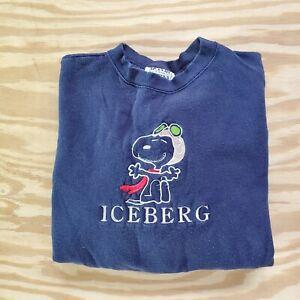 Vintage Iceberg Jeans Iceberg History Snoopy Flying Ace Sweatshirt Xl Made Italy