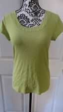 WOMANS DB SHORT SLEEVE BLOUSE SIZE SMALL COLOR GREEN 100%COTTON