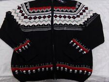 Mens Size XL Chaps Black Winter Sweater w/ Red & Gray Lodge Design NEW MSRP $90