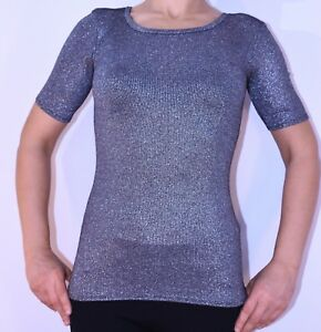 Topshop Silver Festive Top Size 8 Stretch Summer Party Spring Holiday AN