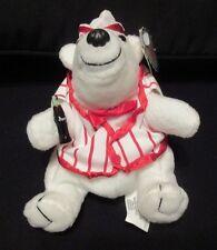 "COCA-COLA. ""POLAR BEAR IN SODA FOUNTAIN OUTFIT"". ORIGINAL BEAN BAG PLUSH. 1998."