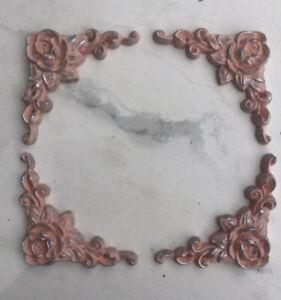 Set of Four Rose Corner mouldings furniture embellishments Appliques