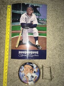 """Mickey Mantle Sports Bar Menu 10.5"""" x 16"""" And 6.5"""" Collector Plate No. 384A"""