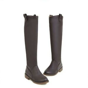 New Ladies Casual Low Chunky Heel Round Toe Pu Leather Knee High Riding Boots D