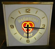 Vintage Ballantine Beer Neon Light Up Clock Neon Porducts Inc. Very Good Cond