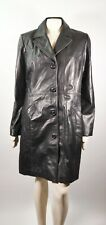 Danier Womens Black Italian Leather Trench Coat Jacket Fitted Soft Size Large