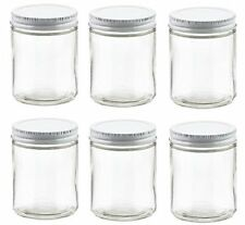 Nakpunar 2 oz Glass Jars with White Metal Lid for Creams, Spice, and more