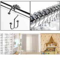 12Pc Stainless Steel Roller Ball Shower Curtain Hooks Rings Bathroom Accessories