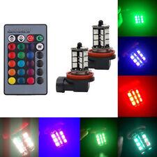 2xH8~H11 5050 27-SMD RGB Lichter Birnen Fahren Fernbedienung Kit Auto LED HQ