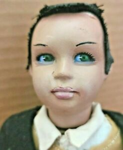 """11"""" antique tagged Marin CHICIANA doll:glass eyes,cloth bodies+hands,POSEABLE"""