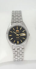 ORIENT 3 Star Automatic Watch Mens SILVER tone Black dial FAB0000DB9 NEW