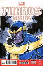 Marvel Sketch Cover THANOS RISING Original Color Artwork by Artist DAMON BOWIE