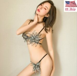 US! Womens Sexy Lingerie Butterfly Flower Forest Girl Three-point Uniform Suit