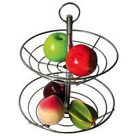 2 Tier Chrome Fruit Vegetable Basket Bowl Steel Wire Rack Stand Storage Holder