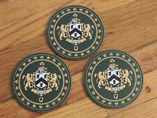 "SET OF 3 Heraldic Coasters - HAYES - Coat of Arms Crest New 3 1/2"" Round"