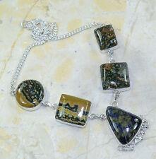 multicolor Jaspe Piedra Preciosa 100% PURE plata de ley 925 Collar 47.6cm 27216