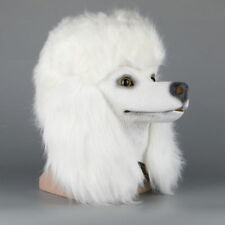 White Poodle Head Dog Mask Realistic Animal Latex Mask Halloween Cosplay Props