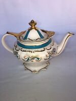"RARE Vintage Sadler Teapot Bone White Blue Gold Trim Perfect 7"" Tall 9.5 Wide"