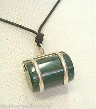 Ciondolo in ARGENTO 925 con AGATA verde naturale e girocollo - pietra dura