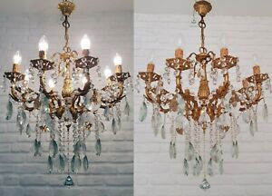 Matching Pair of Antique Vintage 8 Arms Cast Brass & Crystals Chandelier Light