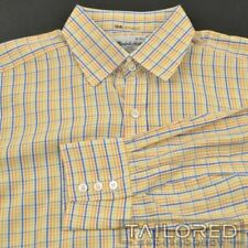 TURNBULL & ASSER Yellow Orange Blue Check Cotton Mens Luxury Dress Shirt - 16