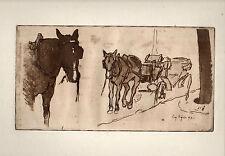 """gravure eau forte d'Eugène BEJOT Station de Fiacre """"L'Epreuve"""" 1895"""