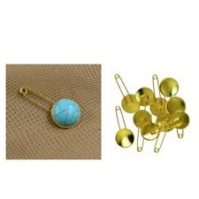 Gold Plated Cabochon Setting Safety Pins Brooches Findings Fit 20mm, 10PCs