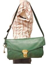 VTG FOSSIL MADDOX GREEN LEATHER SHOULDER HAND BAG FLAPPED TURN LOCK