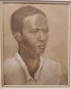 Portrait Of African Man charcoal/ pencil original