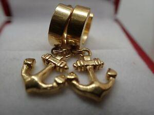 Ladies 18K Yellow Gold GF sailor  symbol Drop Dangles Earrings New Present Gift