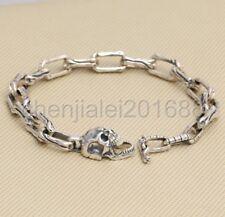 925 Sterling Silver Skull Bone Chain Link Men Biker Chunky Bracelet