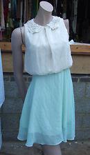 Atmosphère uk 12 splendide crème + vert menthe court robe belle perle col en dentelle
