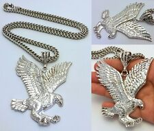 MENS SILVER FLYING EAGLE PENDANT & 6mm STAINLESS STEEL FRANCO CHAIN NECKLACE