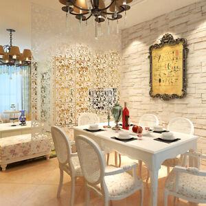 12Pcs Hanging Screen Room Divider Panels Home Bar Decor PVC Hollow White 15''