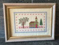 Vtg Church Cross Stitch Needlepoint Finished Wood Framed Country Victorian Style