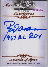 """2012 LEAF INSCRIPTIONS AUTO: ROD CAREW """"1967 A.L. ROY"""" AUTOGRAPH TWINS/ANGELS"""