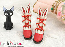 ☆╮Cool Cat╭☆【24-5】Blythe/Pullip Cute Bunny Ear Mini Boots # Red