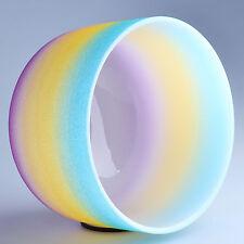 "10"" G Throat Rainbow Frosted Chakra Crystal Quartz Singing Bowl Heal Stone"