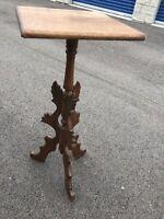 Antique Plant Stand Pedestal Carved Wood Victorian See Description.